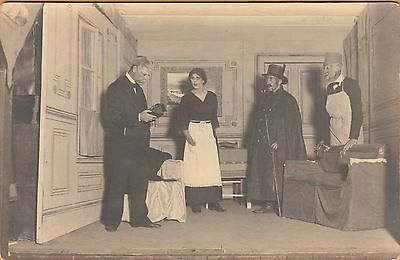 WWI PRISONER OF WAR POSTCARD ~ RPPC ~PLAY AT A POW CAMP w/ A MAN PLAYING A WOMAN