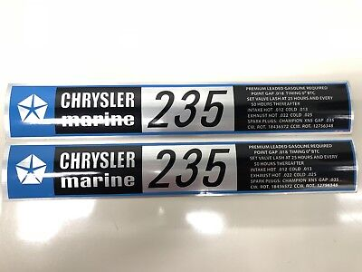 Century Boat~Lyman~Chrysler Marine 235 Hp Engine Decals