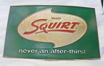 NICE Vintage SQUIRT Soda Pop Sign  ENJOY SQUIRT NEVER AN AFTER THIRST 1970's