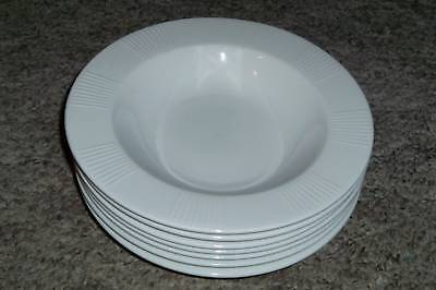"7 LNT Linens N Things Home White Embossed Blocks Lines 9"" Rimmed Bowls"