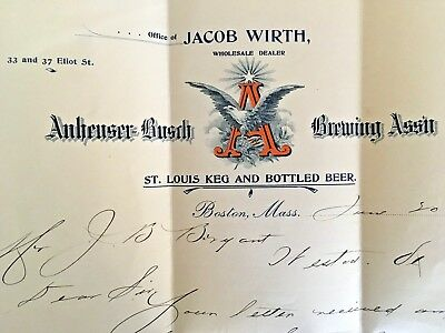 Anheuser Bush Brewing Assn 1899 Letter Office of JACOB WIRTH Wholesale Dealer