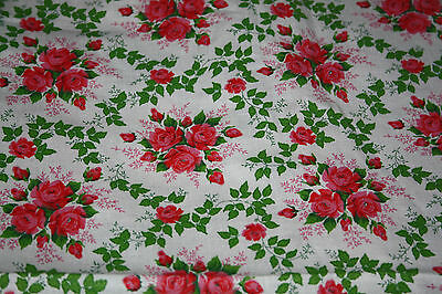 Authentic Vintage Fabric Red Pink Rose Flowers French Country Cottage 2 Yards