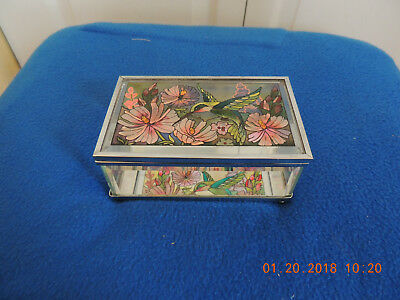 Mirrored glass box with hummingbird and flowers. Amia Hand painted.