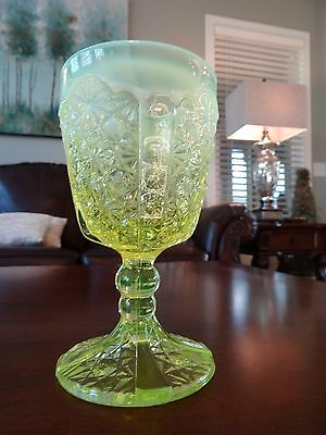 "LG Wright Glass 6"" Canary Opalescent VASELINE Daisy Button Thumbprint GOBLET"