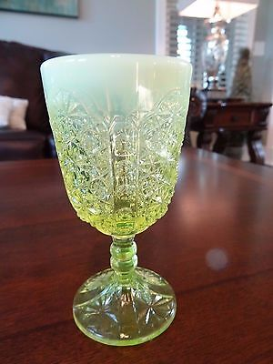 "LG Wright Glass 4.75"" Canary Opalescent VASELINE Daisy Button Thumbprint GOBLET"