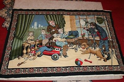 Antique Cat Tapestry 20s 30s family portrait car mouse buggy camera