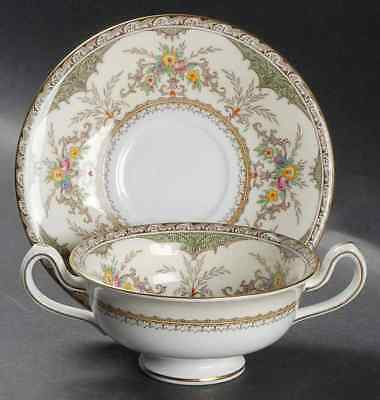 Minton CHATHAM GREEN IVORY Cream Soup Bowl & Saucer 2353421