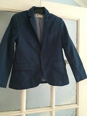 Boys H&M Blue Stripe Cotton Blazer Jacket Perfect To Dress Up Or Down 7-8y