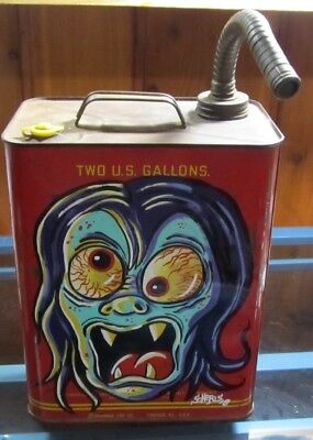 Monster Art Pinstriped Vintage Gas Can Hand Painted Weirdo Monster Vampire Retro