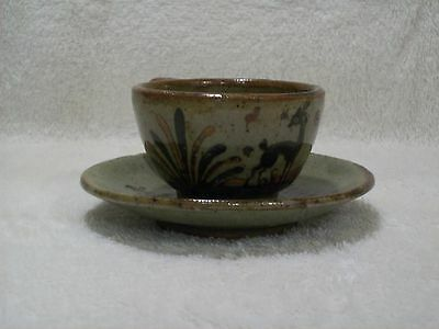 Vintage Tonala Mexican Pottery Cup & Saucer Folk Art Pottery Deer Stag Floral