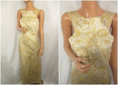 VINTAGE 1970s UK:16 GOLD FLORAL BROCADE FANCY MAXI PARTY DRESS RETRO SLEEVELESS