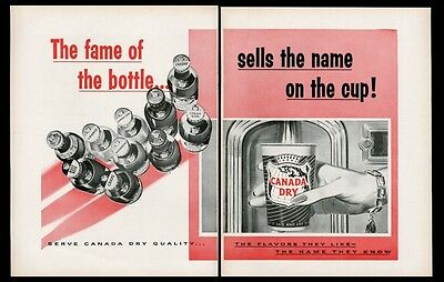 1957 Canada Dry 10 soda bottle vending cup art movie theatre trade print ad