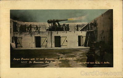 WWI L. A. Falks Target Practice with 10-Inch Disppearing Rifles Postcard