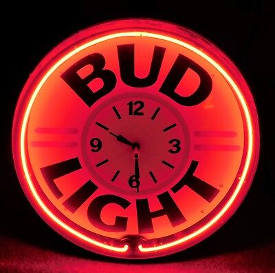 1992 BUD LIGHT BEER Round RED NEON Clock SIGN w/ METAL FACE Must See!!! WOW!!!