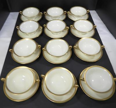 12 Antique Limoges Gold Banded Footed Cream Soups & Saucers - G L Emerson Boston