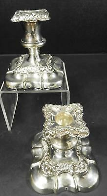 Matched Pair of Antique Ornate Sheffield Low Candle Holders
