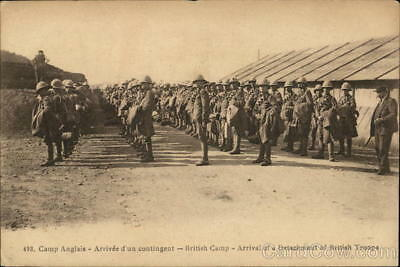 Army British Camp-Arrival of a Detachment of British Troops Postcard