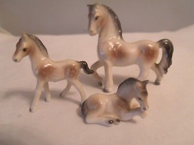 Vintage Lot of 3 Horse Porcelain  Figurines Miniatures 1 Mare 2 Colts