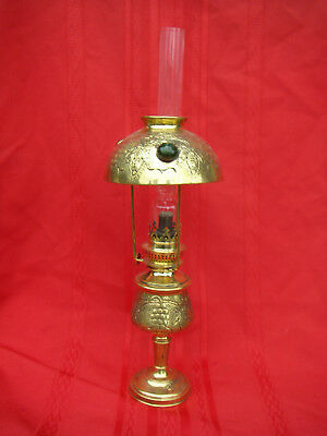Antique Engraved Victorian Oil Lamp With Cabachon Jeweled Shade