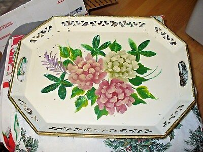 Vintage Hand Painted Hydrangea Tole Tray~~White Shabby~~~~