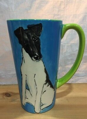 Smooth Fox  Terrier Hand Painted Kiln Fired Ceramic Latte Cup By Darci