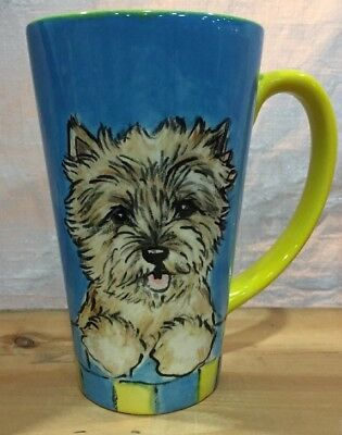 Cairn Terrier Hand Painted Kiln Fired Ceramic Latte Cup By Darci