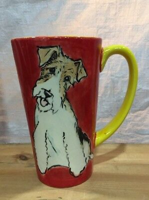 Wire  Fox  Terrier Hand Painted Kiln Fired Ceramic Latte Cup By Darci