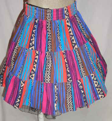 Earth  Colors  Western Pattern Square Dance Skirt Small