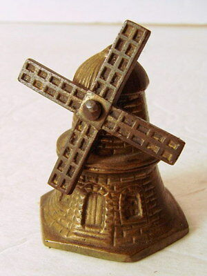 """Vintage HEAVY BRASS Dutch WINDMILL service call table Rotating Vane BELL 2.5"""" T"""