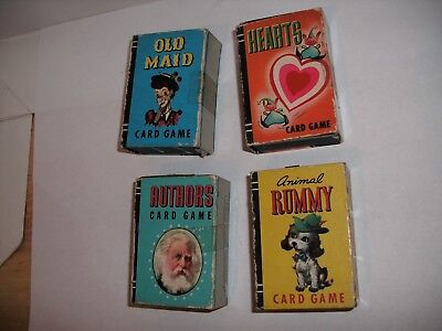 Vtg Whitman Boxed Children Card Games  Old Maid, hearts,Authors, Rummy