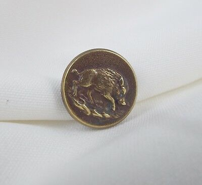 Antique Brass Small Button w Image of Wild Boar Running Perfectionne CT Paris