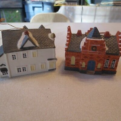 2 Norman Rockwell Main Street Miniature Building Christmas Ornaments