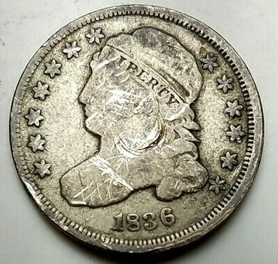 1836 CAPPED BUST DIME-KM 48-90%-FREE USA SHIP-10c-TEN CENTS-FINE, DETAILS