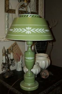 Mcm Vintage French Green Tole Table Lamp Milk Glass Shade Cottage Chic Shabby