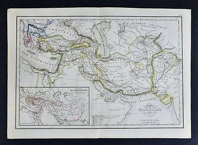 1858 Delamarche Map - Conquest of Alexander the Great Empire Middle East Greece