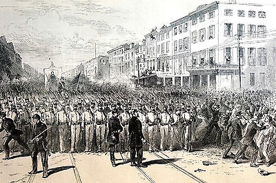 Military Procession and Mob 1871 Eighth Ave. 24th St. Antique Engraving Matted