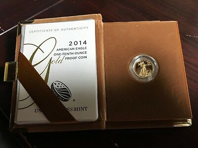 United States 2014-W $10 1/10 Oz Proof American Gold Eagle With Box & Coa