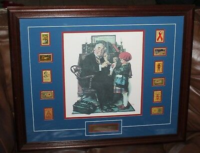 "Norman Rockwell's ""the Doctor And The Doll"" Framed Picture With Stamps"