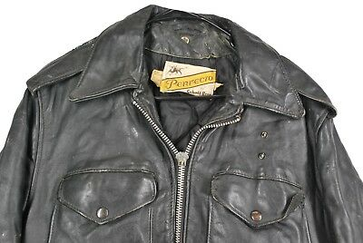 MENS 42 VTG Schott Perfecto Police Motorcycle Jacket Black Leather Distressed