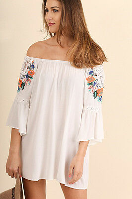 c34022f9efd UMGEE Off Shoulder Tunic Top Dress Long Sleeve Embroidered Boho Oversized  Flowy