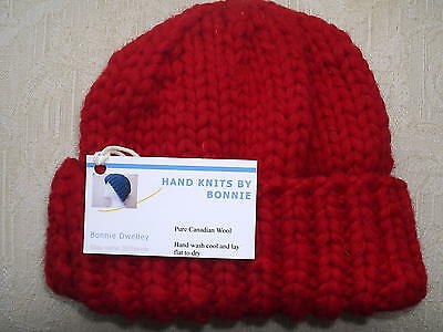 Canadian 100% Wool Hand Knit- Youth/Small  Hat/Watch Cap/Beanie -3 Color Choices