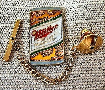 Miller Beer Can Tie Tack Pin and Chain Clasp