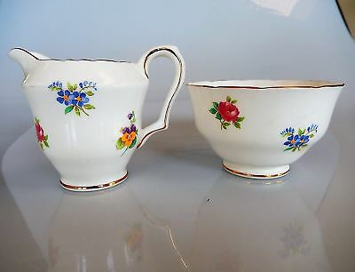 Crown Staffordshire FLORAL BOUQUET-SCALLOPED Mini Creamer and Open Sugar Bowl