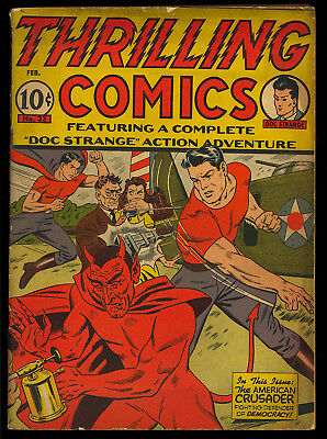 Thrilling Comics #33 RARE Gerber White Space Devil Cover Hitler 1943 VG-