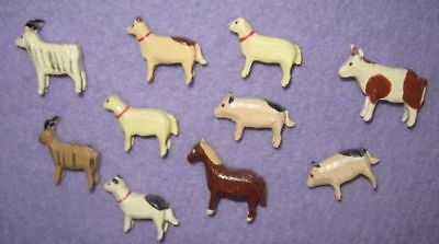 10 Tiny Carved WOOD ANIMALS Goat Horse Dogs Pigs Cow