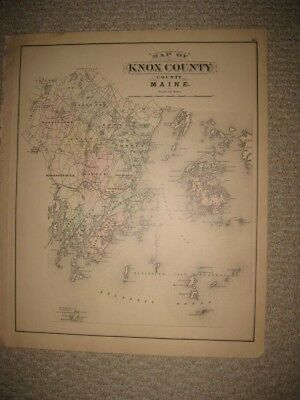 Antique 1884 Knox County & Rockland Rockport Thomaston Maine Handcolored Map Nr