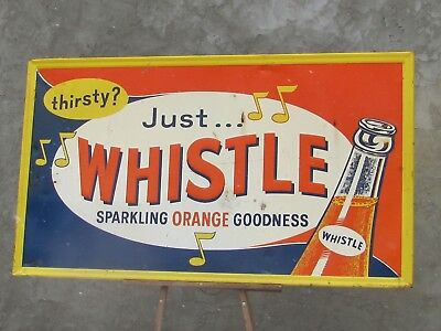 """1950S Whistle  Embossed Tin Advertising Beverage Sign!!! 54 """" x 32"""" music"""