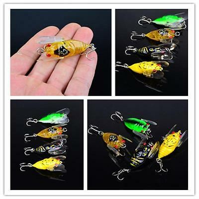 1pcs Cicada Popper Bass Insect Fishing Lures 4cm Crank Bait Floating Tackle FEÑ