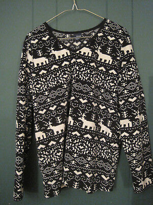 Basic Editions Large Black and White Reindeer Fleece Shirt-Polyester-NWOT