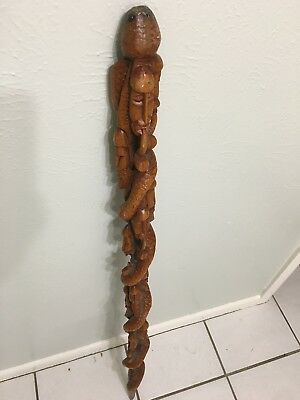 "Vintage 44"" Carved Walking Cane Stick African Tribal Heads Serpant NO RESERVE"